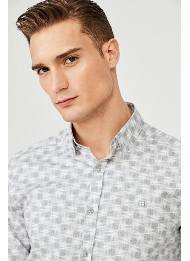 Avva Erkek  Baskılı Düğmeli Yaka Gömlek A02Y2294 Gri